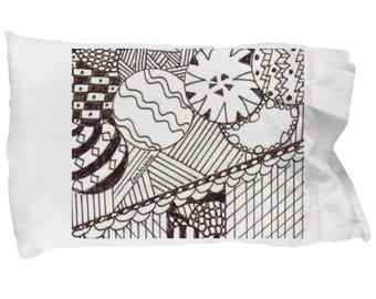 "Zentangle Pillow Case - B/W Zentangle Pillow Case hand drawn by Zenjoanie - ""Circular"""