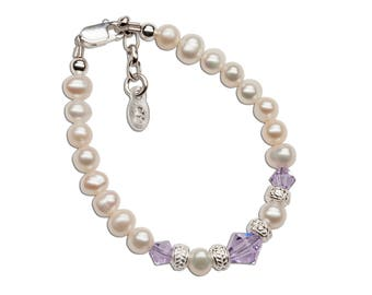 Sterling Silver Bracelet with Freshwater Pearls and Violet Swarovski Crystals with Gift Box for Baptism Gift (Harmony)