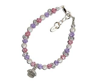 Girls Sterling Silver Cupcake Bracelet for Baby's First Birthday or Birthday Gift for Girls (033)