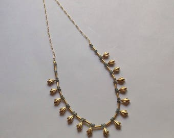 24k Gold Vermeil Lily Drop and Blue Sapphire Necklace