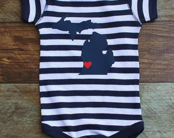 Baby Michigan Onesie, 4th of July Clothing,City Heart Onesie, Michigan Clothing, Baby Boy Onesie, Baby Shower Gift, Trendy Baby!