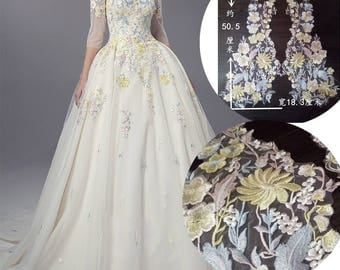 1 pair Lace Appliques Exquisite Embroidered Yellow Flowers Applique Wedding Dress Grown Bridal Veil Bodice
