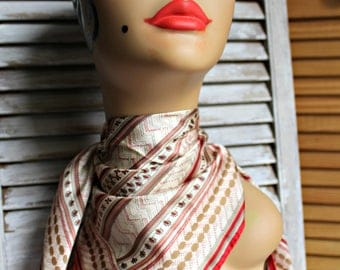 Vintage! Echo. Square. Scarf. Red/white/gold. 1960s. Silky. Nice scarf!