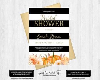 Fall Bridal Shower Invitation Pumpkin Floral Wedding Shower Party Invites Black and White Stripe Autumn Printable Digital File or Prints