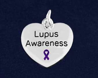 10 Heart Lupus Awareness Charms in a Bag (10 Charms) (C-129-4LU)