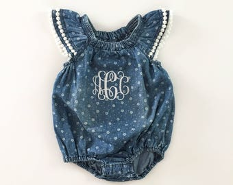 Monogrammed Blue & White Abstract Floral Cotton Girls Romper w/ Pom Trim - Chambray Denim Bleach Toddler Girls' Distressed Snap Jumper