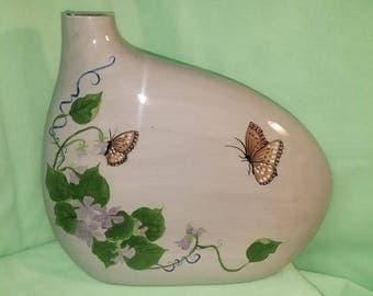 Kidney Vase with Butterflies