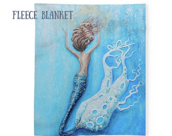 Fleece mermaid blanket, sherpa mermaid throw, soft mermaid blanket, Nancy Quiaoit