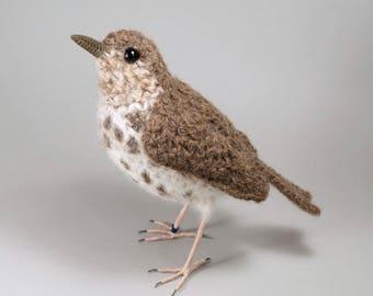Song thrush bird crochet realistic soft sculpture