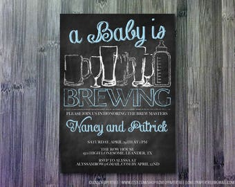 Baby is a Brewing Baby Shower Invitation   BAS36