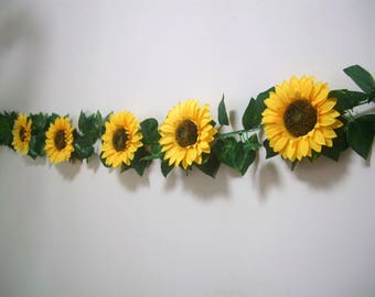 Sunflower Wedding decor,Sunflower Garland Banner,Silk Flower Garland,Bridal Shower Garland,Birthday Party decor,Flower wall Backdrop Bunting