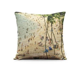 18x18in Hanauma Bay Linen Pillow Cover
