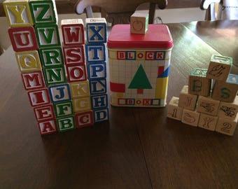 Vintage 1988 Wooden Alphabet Blocks Letters House of Lloyd Block Box Tin