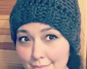 Grey chunky hat - crochet pattern