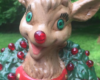 SALE Reindeer Lighted Retro Anthropomorphic Ceramic Hand Made Hand Painted Night Light Mid Century