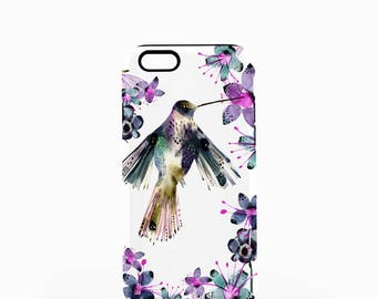 iPhone Case For Her, Pretty Hummingbird Floral Phone Case, Tough Case for iPhone