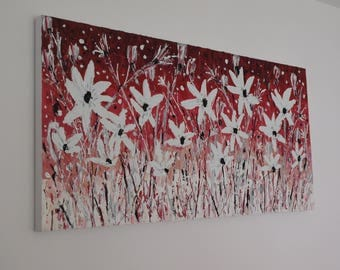 "Original Modern Contemporary White Flowers Palette Knife Painting by Jeanette James~Monk 40"" x 20"" - 100x50cm ready to hang canvas"