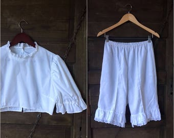 Vintage 60's All White High Waisted  Bloomers and Crop Top Two Piece Undergarment Set size Medium