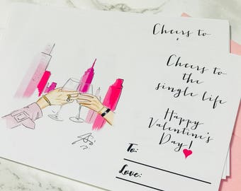 PRINTABLE Cheers To the Single Life Valentine's Day Card (Instant Download, Valentine's Day, Galentine, Vday, For Her, Valentine's Day Card)