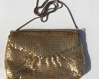Vintage Gold Mesh Evening Bag Crossbody Disco Eighties Seventies