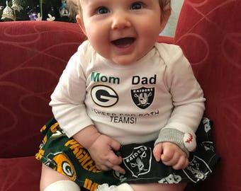 Custom House Divided Football Bodysuit Dress ( Raiders-Packers) I Cheer For Both Teams