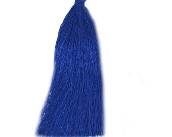 2 large PomPoms 95mm imitation silk indigo