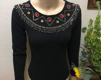 80's Jeweled Bodysuit - Black Jeweled Bodysuit Small