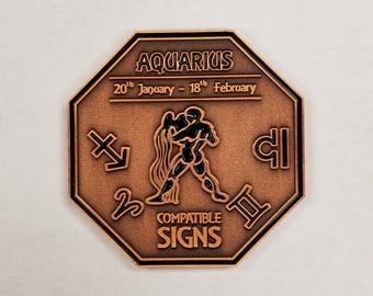 AQUARIUS Zodiac Astrological Coin Antique Copper Finish