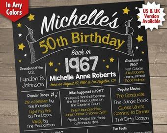 50th Birthday Poster, 50th Birthday Chalkboard, 1967 Birthday Poster, 1967 Birthday Facts, Back in 1967, 50th Birthday Gift