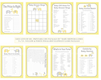 Yellow Polka Dot Baby Game, Printable Elephant Baby Game, Yellow Gray Baby Shower Game, Dot Baby Game, DIY Baby Games - Printables 4 Less