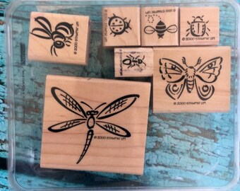 Stampin' Up! Bunch O ' Bugs woodmount stamp set butterfly, dragonfly, bee ladybug