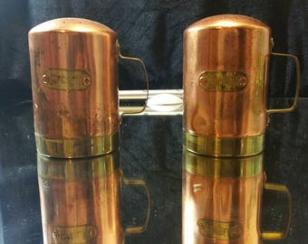Copper and Brass salt and Pepper Shakers