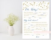 Baby Shower Mad Libs, oh baby mad libs printable game, Gold baby shower game, gold confetti, baby fill in the blank, INSTANT DOWNLOAD 008