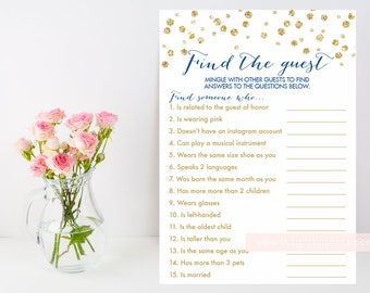 Find the Guest game printable, Gold baby bridal shower, shower ice breaker, gold confetti, downloadable shower game, INSTANT DOWNLOAD 008