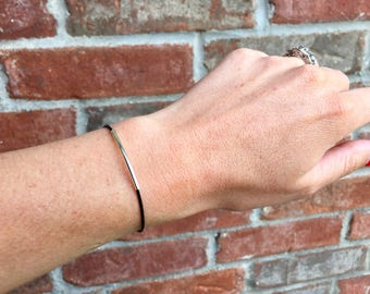 Thin Leather Bracelet, Black Leather Bracelet, Minimalist Bracelet, Silver Bar, Bar Jewelry, Stacking Bracelet, Leather Band, Silver Tube