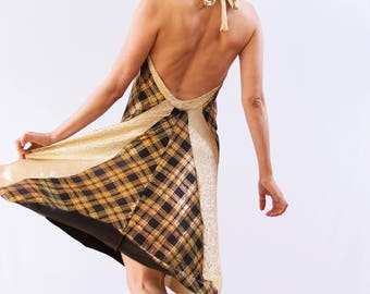 Gold and Plaid Tango Dress - Cowl Neck Dress - Argentine Tango Dress - Gold Halter Dress - Milonga Dress - Open Back Dress - Tango Fashion