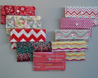ANY TWO Coupon holders, Fabric cash envelopes/wallets, Receipt holders, Checkbook covers, Paisley/Butterflies/Arrows/Dots/Chevron
