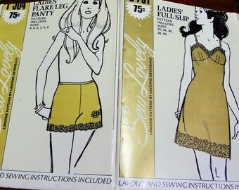 UNCUT Pair (2) of SEW LOVELY Lingerie Patterns 1970
