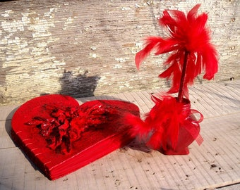 Photo book big red heart, wedding, engagement photo album, red feather pen and holder, unique birthday gift, crimson leafs, handmade paper