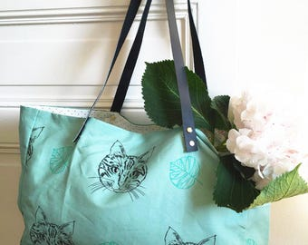 Illustrated shopping bag linen cotton Cat Lady