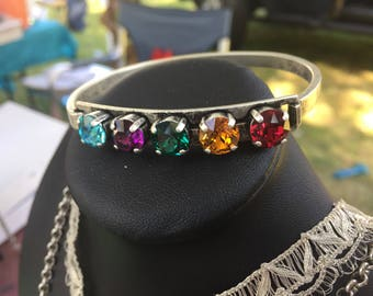 Customized Swarovski Crystal Family Birthstone, School Colors Five Box Cuff Bracelet - Silver Ox or Brass Ox- Pick your Color Finish and Sto