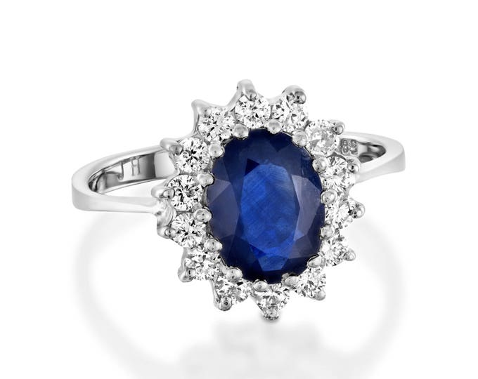 Diamond ring with Sapphire-Blue Sapphire-1ct Blue Sapphire-Engagement Ring-White gold Gold-Diana Ring-promise ring-multistone ring-for her