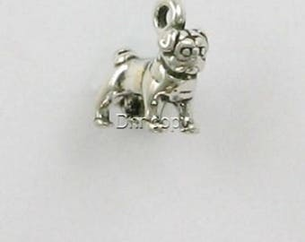 Sterling Silver 3-D Miniature Pug Dog Charm