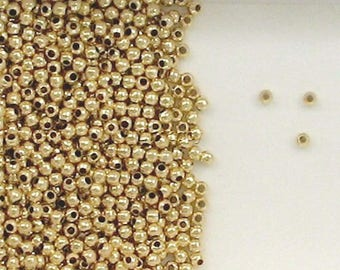 14K Gold Filled 2mm Seamless Round Spacer Beads, Choice of Quantity