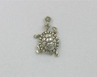 Sterling Silver 3-D 20mm Turtle Charm