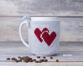 Valentines day gift, Coffee mug cozy, Love party decor, Mug sweater, Knitted heart, Tea sleeve,  Cup warmer, Coffee cosy, Mug cover