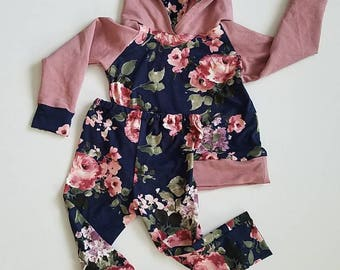 Navy floral and mauve hoodie