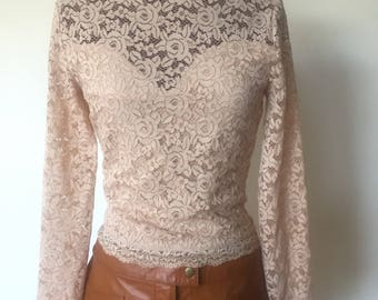 90s Lace Top Sheer Size S M Made in US by Bebe