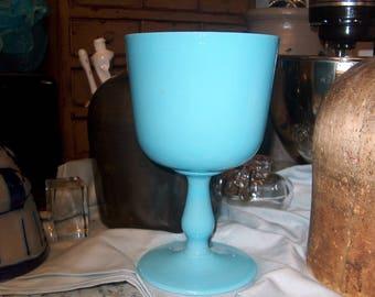 Vintage Blue Glass Compote, Vase, Blue Milk Glass