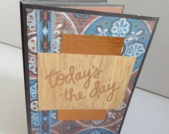"Photo album, handmade, 4""x6"",  western, for 8 photos or 16 smalls,  instagram,  black, burgundy, gray, blue, wood grain, cardstock."